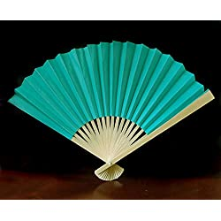 "Quasimoon 9"" Teal Green Paper Hand Fans for Weddings, Premium Paper Stock (10 Pack) by PaperLanternStore"