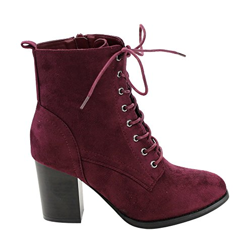 Burgundy Lace Heel High Ankle Women's GF08 Beston Up Booties Side Zip Block Combat Ea7Tqwp