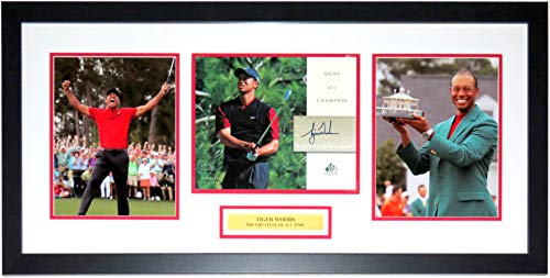 Tiger Woods Signed 2019 Masters 3 8x10 Photo Set - Upper Deck Authenticated UDA COA - Professionally Framed & Greatest of All Time Plate 34x16