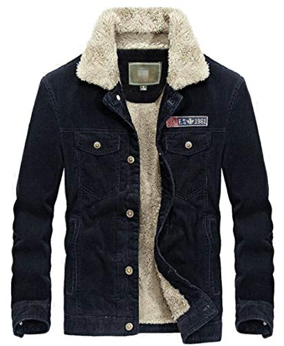 Warm Coat Cargo Collar Gocgt Parka Blue Outwear Men's Winter Quilted Jacket Button Casual Rqp1p5