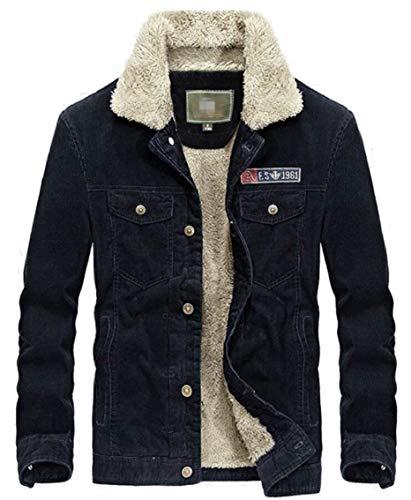 Collare Degli Blu Parka Uomini Casuale Outwear Gocgt Del Caldo Carico Trapuntato Cappotto Pulsante Inverno wnrUcawqW
