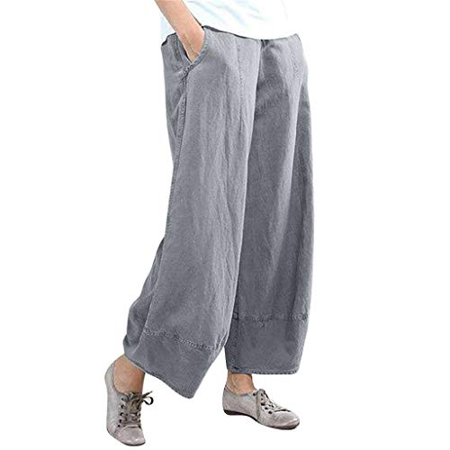BBesty Big Sale Women's Summer Fashion Pure Color High Waist Wide Leg Pants Cotton Linen Trousers Loose Pants Gray ()