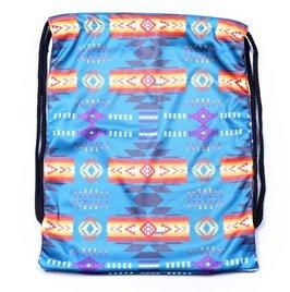 Southwestデザイン( Navajo Print )巾着バッグジムバッグターコイズブルー B01HLGJQ5U
