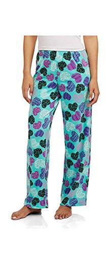 Pajama Heart Pants Fleece (Secret Treasures Ladies Micro Fleece Hearts Pajama Pant Turquoise, Adult Size S)