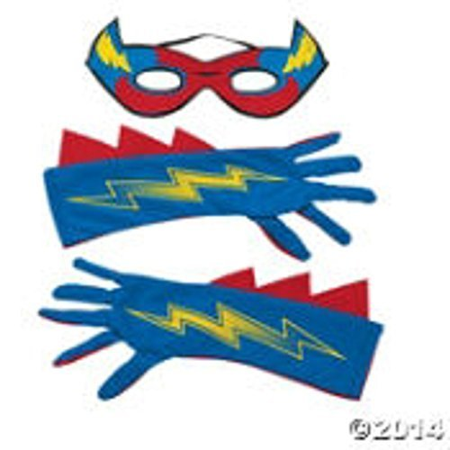 Superhero Mask and Gloves Set for Dress Up and Pretend Play 3 PC Set for Boys or Girls