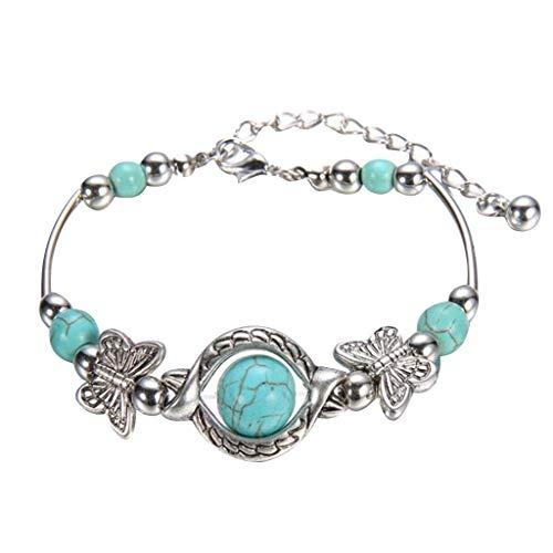 Rape Flower Natural Turquoise Carved Butterfly Pendant Bohemian Women's Bracelet Jewelry