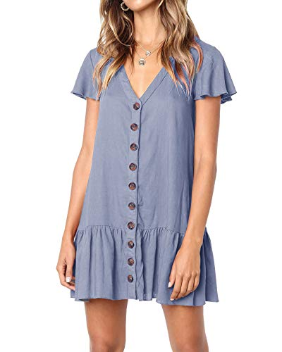 (Bbalizko Womens Cute V Neck Short Sleeve Buttion Down Loose Fit Ruffle Mini Dresses (Medium, Z-Teal))