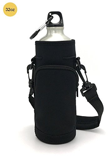 32 Oz Cooler - Wanty Neoprene 32 Oz Insulated Water Drink Bottle Cooler Pocket Carrier Sleeves Tote Bag with Adjustable Straps for Climbing Cycling and Running Outdoor Activities (32 Oz)