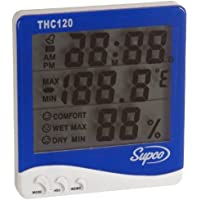 Supco THC120 Triple Display Indoor Digital Thermo-Hygrometer with Clock, 32 to 120 Degrees F