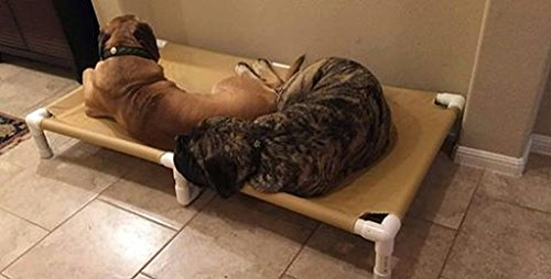 """Extra Extra Large Pet Bed, Dogs Up to 200 Pounds Size 39""""x56""""x10"""" Beds for X Large Dogs, PVC Pipe Frame, Color Buckskin Tan Canvas, Dianes K9 Creations"""