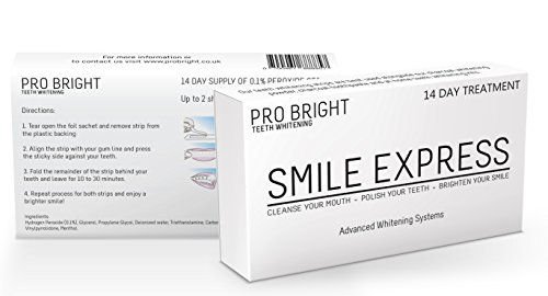 Professional High Strength Teeth Whitening Strips by Pro Bright | 1 Hour Express Whitening | 14 Packs of Teeth Whitening Strips | Up To 2 Shades Lighter After Just 1 Use | Money Back Guarantee