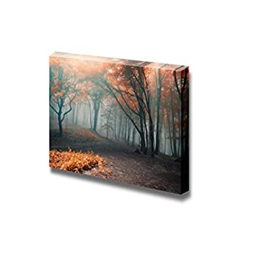 Beautiful Scenery Landscape Trees with Red Leafs in a Mysterious Fantasy Forest with Fog - Canvas Art Wall Art - 12