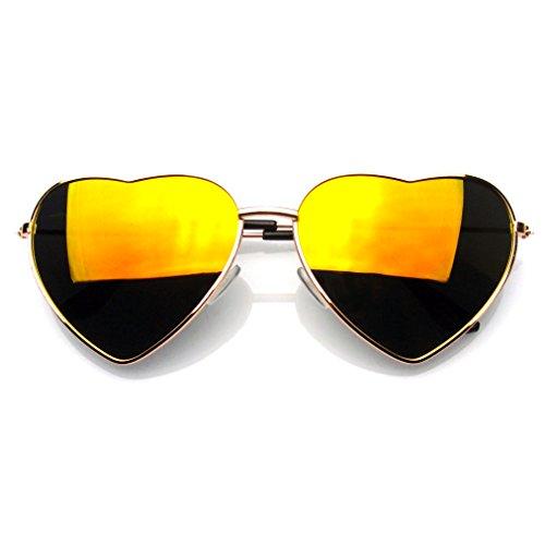 Rouge De Flash Emblem Coeur Soleil Miroir Eyewear En Mignon Forme Lunettes Feu Métal Womens q74U7xE0