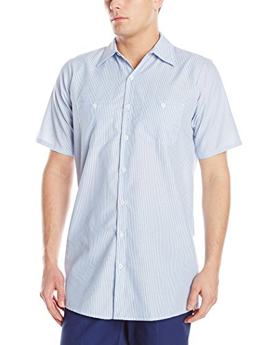 (Red Kap Men's Industrial Stripe Work Shirt, Blue/White Stripe, Short Sleeve Small)