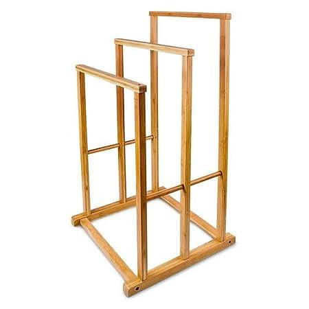 Toallero de pie con 3 barras en forma de escalera hecho de bamb/ú resistente a la humedad con medidas 82.5 x 42 x 42.5 cm para el cuarto de ba/ño Relaxdays color natural