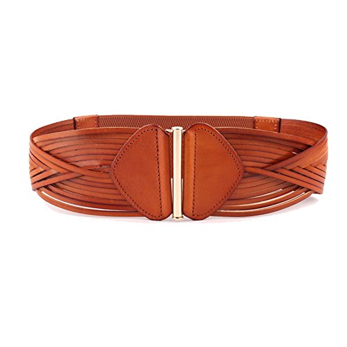 Elastic Leather Cinch Belt (Vintage 100% Cowhide Leather Girdle Wide Waist Belts Retro Wave)
