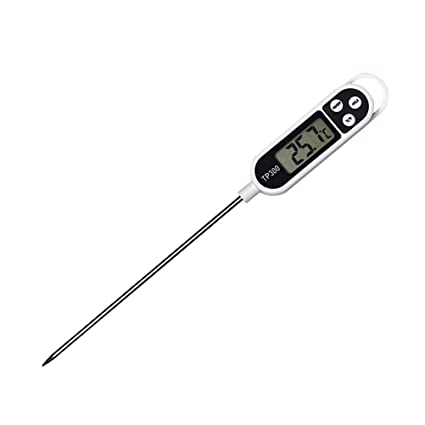 Termómetro de Cocina Digital de Acero Inoxidable, Pantalla LCD anticorrosión con sonda, Comida,