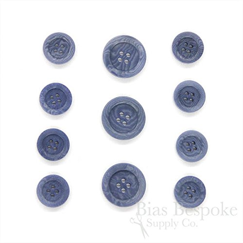 Sets of 11 Chic Country Blue Corozo Suit Buttons for Single Breasted Jackets, Made in ()