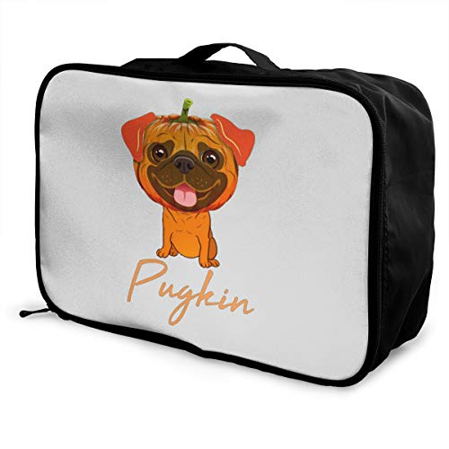 Pugkin Funny Pug Pumpkin For Halloween Lightweight Large Capacity Portable Luggage Bag Fashion Travel Duffel Bag