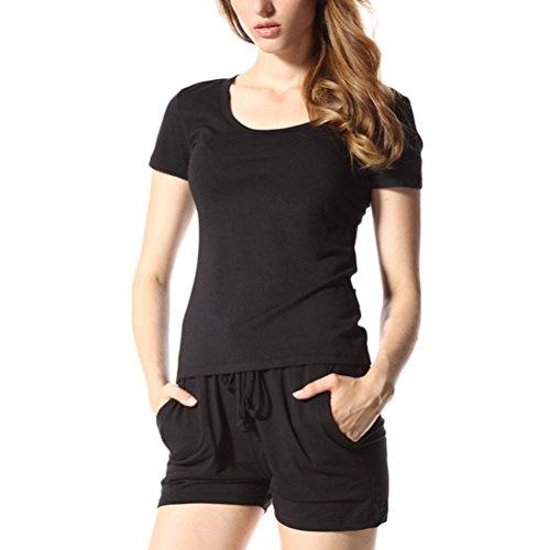 Zhuhaitf Alta calidad Women's Summer 2 Piece Sports Casual Cotton Pyjama Sets Nightwear Sleepwear Black