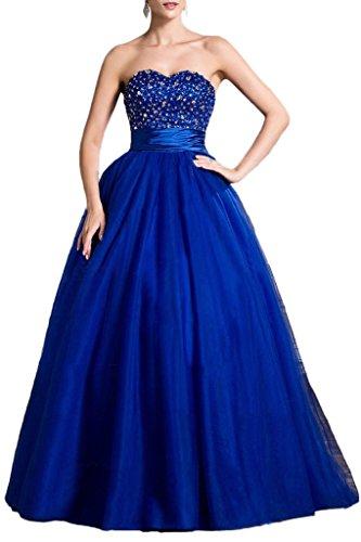 Victory Bridal Hochwertig Royal Blau Abendkleider Ballkleider mit Pailletten Spitze A-linie Bodenlang Neu