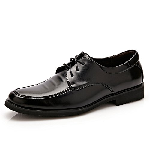 Sunny&Baby Men's Formal Business Oxfords PU Leather Stitching Design Soft Flat Sole Loafers Abrasion Resistant (Color : Black, Size : 6.5 MUS) ()