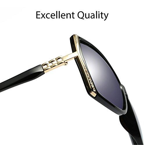 Oversized Polarized Sunglasses for Women Polarized Vintage Luxury Eyewear (Black/Grey) by BAVIRON (Image #5)