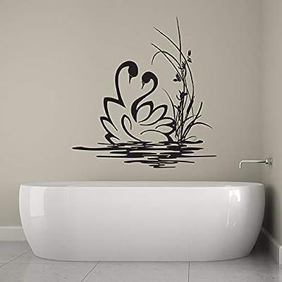 YuanMinglu Calcomanía de Pared de Cisne Baño Vinilo Adhesivo de Pared Amor Cisne Natación Animal Fondo de Pantalla extraíble Arte Negro 42x42 cm: Amazon.es: Hogar
