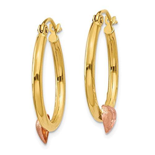 ICE CARATS 14k Yellow Rose Gold Heart Hoop Earrings Ear Hoops Set Love Fine Jewelry Gift Set For Women Heart by ICE CARATS (Image #5)