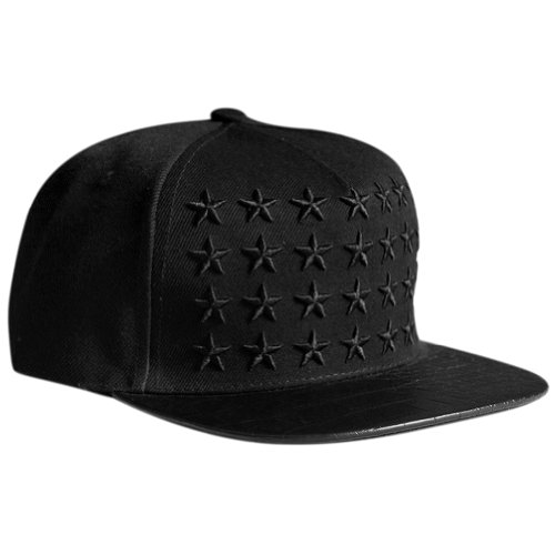 LOCOMO Star Embroidery PU Leather Crocodile Skin Pattern Snapback Cap FFH134BLK (Hats For Cheap)