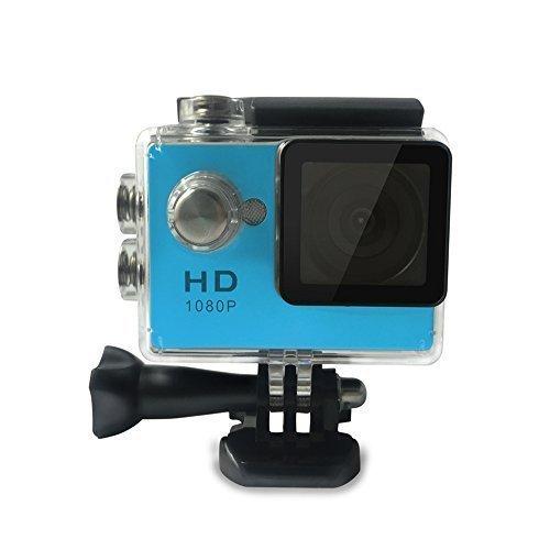 Lyhoon Full HD 2 Zoll Wasserdicht Weitwinkel-Objektiv Action Kamera Action Cam mit Zubehör Kits für Fahrrad Motorrad Tauchen Schwimmen usw (Blau, 720P)