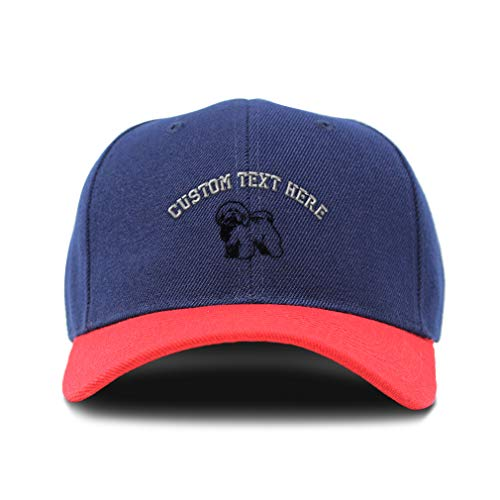 Bichon Frise Baseball Cap - Custom Bi Color Baseball Cap Bichon Frise Outline Black Embroidery Acrylic Dad Hats for Men & Women Navy Red Personalized Text Here One Size