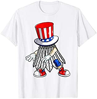 Flossing Badminton With USA Hat Patriotic 4th Of July T-shirt   Size S - 5XL