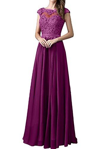 Festkleid Traumhaft Dunkelfuchsie Ballkleider Ivydressing Abendkleid Promkleid Spitze Rundkragen Damen nUSWfwTY