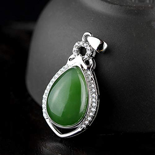 - Mayanyan S925 Sterling Silver Fashion Vintage Chalcedony Pendant Emerald Clavicle Chain Ladies Gift