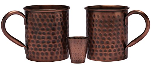 Melange 24 Oz Antique Finish Copper Classic Mug for Moscow Mules, Set of 2 with One Shot Glass - 100% Pure Hammered Copper - Heavy Gauge - No Lining - Includes Free Recipe Card