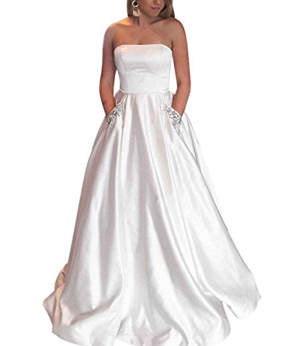 LastBridal Women Satin Strapless Beaded Prom Dresses Long Formal Evening Gown with Pockets LB0158 US 10 White