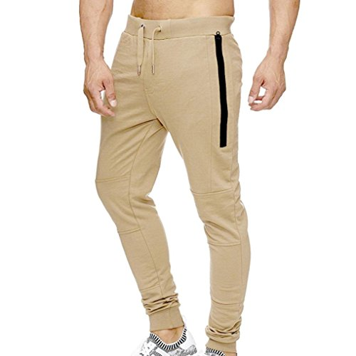 Realdo Mens Elastic Waist Trousers, Slack Loose Striped Patchwork Harem Pants(Khika,XX-Large)