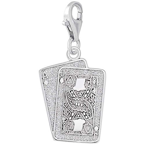 Rembrandt Charms Blackjack Charm with Lobster Clasp, Sterling Silver