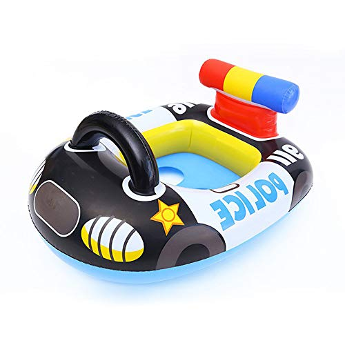 Verintex Inflatable Police Car Pool Ride for Kids of Age 1-5 | Kids Kiddie Pool Ride | Durable | Premium Quality | Pool Floats for Children (Black)