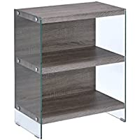 ACME Furniture Acme 92374 Armon Bookcase, Clear Glass & Gray Oak, One Size