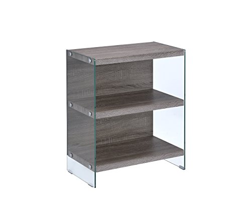 Oak Glass Shelf - Acme Furniture Acme 92374 Armon Bookcase, Clear Glass & Gray Oak, One Size
