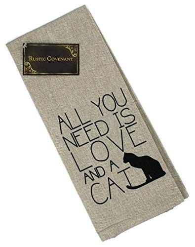 Rustic Covenant Woven Cotton Love My Pet Tea Towels, 27 inches by 16 inches, All You Need is Love and a Cat, 1 ()
