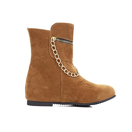 Top Women's Heels Closed Low Brown Frosted Kitten Solid Boots Toe Allhqfashion Round dwx0qzpz