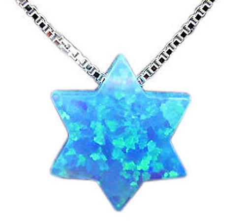 Blue Opal Star of David Necklace