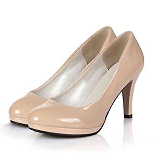 Blivener Womens Classic Dress Shoes Elegant Pumps High Stiletto Heel Beige irfPeyO