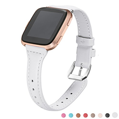 (bayite Slim Bands Compatible Fitbit Versa, White, Genuine Leather Band Replacement Accessories Strap Women Men, (5.3