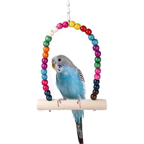 Eichhörnchen Papageien Holz Vogelspielzeug Vogelschaukel mit Glocken f Spielzeug Vögel