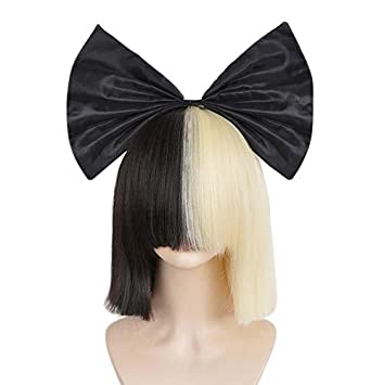 Amazon.com   SiYi Sia wig Half Blonde Black 2 Tone color Short Straight Bob  Wig Synthetic Full Wigs with Big Bow Should Cosplay Wigs for Women Girls    ... 946d5e26c