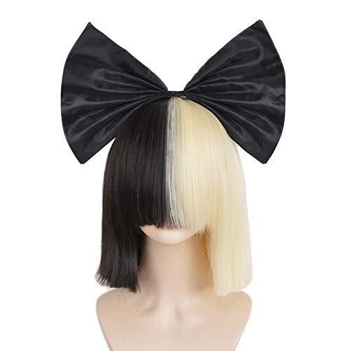 (SiYi Half Blonde Black 2 Tone color Short Straight Bob Wig Synthetic Full Wigs with Bow Should Cosplay Wigs for Women)